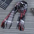 Мода весна Имитация кашемира мужская кисточкой британские зимние шарфы осень шарф мужчин с красочными плед воротник-шаль шарфы