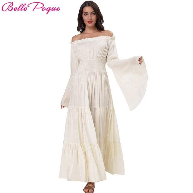 Belle Poque Maxi Weißes Frauen Vintage Baumwolle Langarm Kleid Sexy zMpGUVqS
