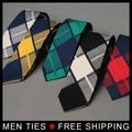 2017 Más Nuevo Hombre de Algodón de la Tela Escocesa Corbatas Corbata Para Hombre Trajes de Diseño Casual Lazo de Los Hombres Corbatas De Boda Clásico Masculino lazos