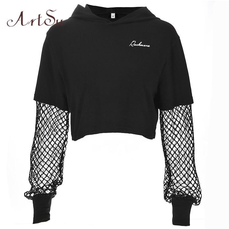 ArtSu 2020 Black Crop Top Sweatshirt Long Sleeve Women Hoodies Hooded Streetwear Harajuku Hoodie Kpop Hoody ASHO20240