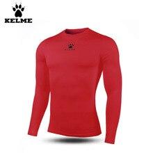 Kelme Men's Tight Soccer Jersey Quick-drying Stretch Winter Plus Velvet Long-sleeved Sportswear K15Z701 Red