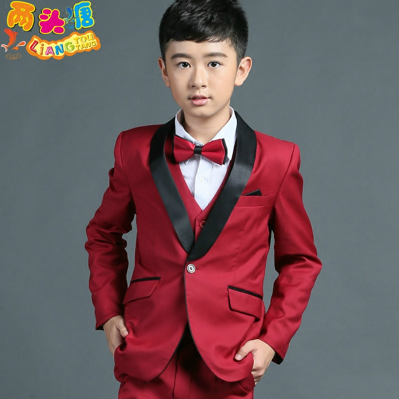 Elegant Kid Boy Wedding red Suit/Boys' Tuxedo/Gentlemen Boys Suits For Weddings (Jacket+Pants+Tie+Vest+Shirt)3-12T 2016 new arrival fashion baby boys kids blazers boy suit for weddings prom formal wine red white dress wedding boy suits