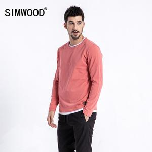 Image 2 - SIMWOOD 2019 autumn New Fake Double Layered T Shirt Men Long Sleeve 100% Cotton Fashion Tops High Quality Slim Fit Tees 180109