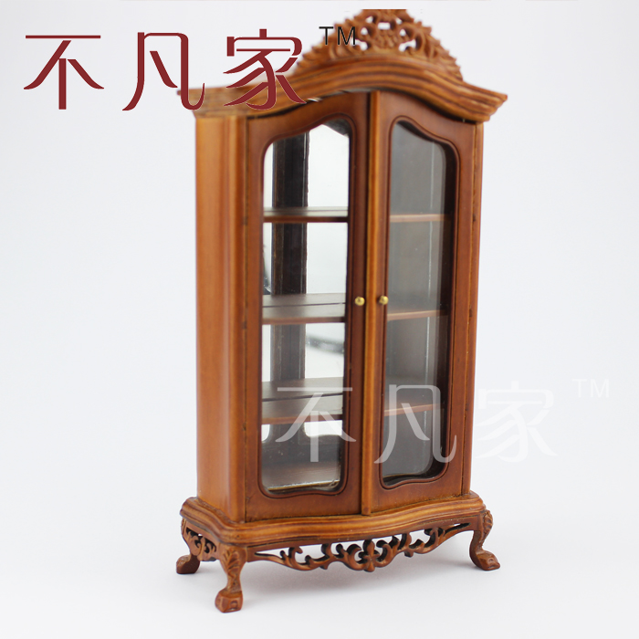 Dollhouse 1/12 scale miniature furniture Excellent quality carving Glass cabint