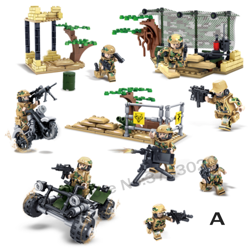LWKO Military Wolf Tooth Field Army Soldiers SWAT Weapon Building Blocks Action Figure Bricks With Legoe Kid Toys For Children