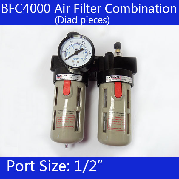 BFC4000 Free Shipping 1/2 Air Filter Regulator Combination Lubricator ,FRL Two Union Treatment ,BFR4000 + BL4000