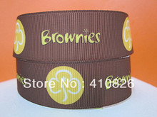 """Q&N ribbon wholesale 1""""25mm leaf brownies printed grosgrain ribbon for hair bow 50yds/roll free shipping"""