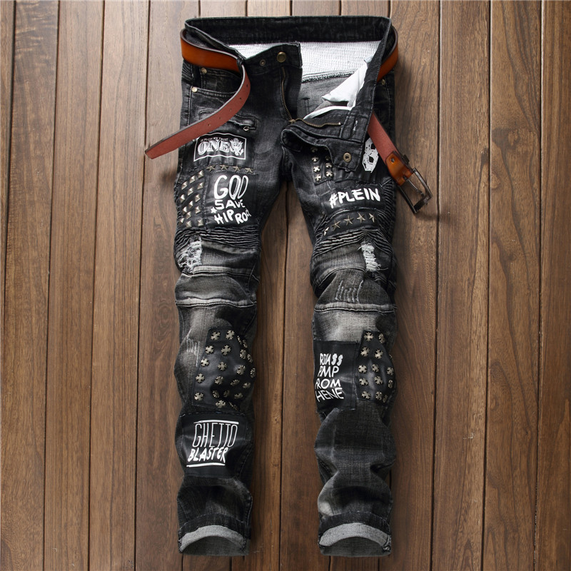 Mens Denim Jeans High Quality Europe and America Fashion Rivet Men's Trousers Black Men Casual Straight Jeans Size : 29-38