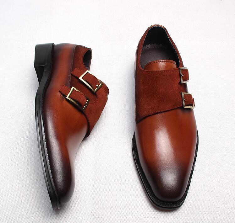 7895af3888567 Włochy styl sukienka buty męskie kupon na klamry pasek z prawdziwej skóry  patchwork nubuku smart casual oksfordzie Goodyear handmade derby w Włochy  styl ...