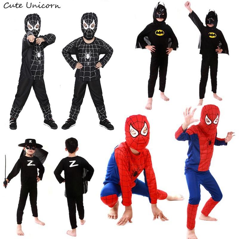 Spiderman batman superman kids cosplay costume children clothing halloween costumes boys clothes superhero cape carnival costume