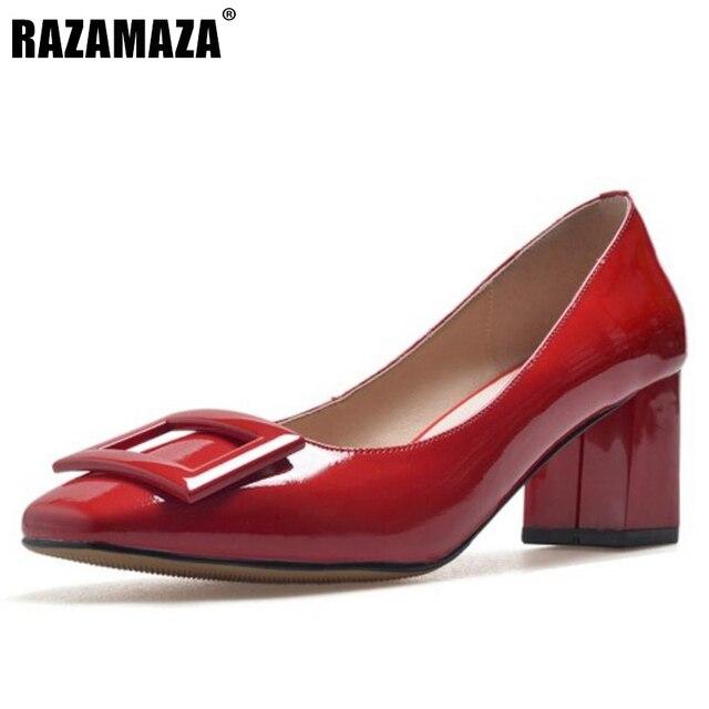 RAZAMAZA Damen Square Heel Pumps