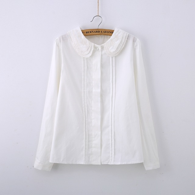Brand-new Cute White Blouse Peter Pan Collar Ruched Lace Embroidery Shirt  ZI83