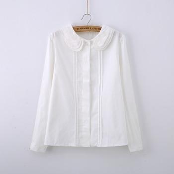 01749ed7d Linda blusa blanca cuello Peter Pan camisa bordada de encaje para niñas  manga larga S-XXL blusas femeninas T51285