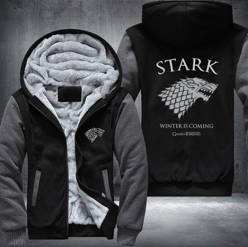 USA Ainsi Que L'UE Américain Taille de Game of Thrones Hommes Femmes Impression de Motif Épaissir Polaire Zippée Sweat Shirts Manteau veste