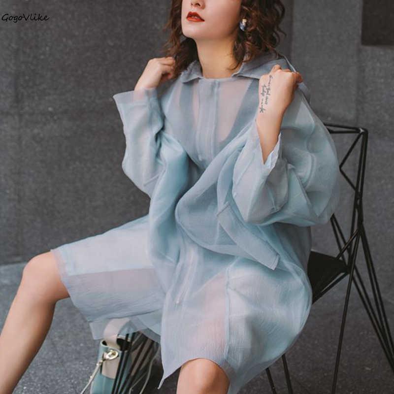 Thin Perspective   Trench   Coat Hooded 2019 New Spring Women Long Windbreaker Pink/blue Loose Outwear Long Sleeve Korean LT873S50