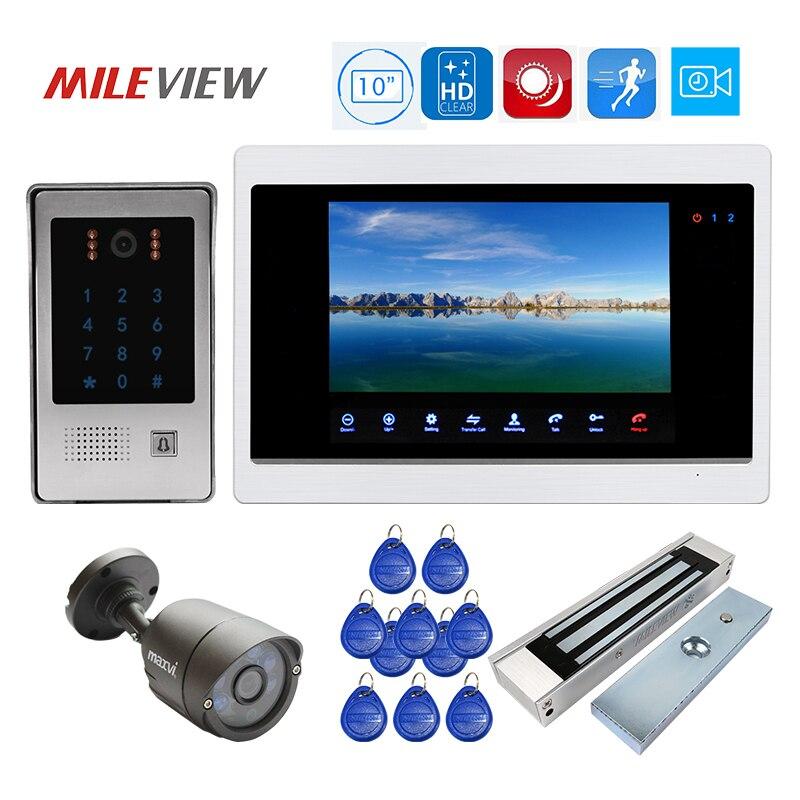 Frete Grátis HD 1200TVL 10 Interfone Telefone Video Da Porta Monitor de Registro Kit RFID Código Teclado Desbloquear Câmera campainha Da Porta Fechadura Magnética