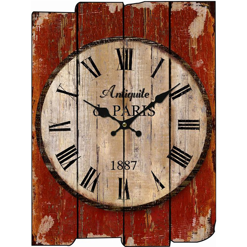 Wood Wall Clock Vintage Quartz Large Wall Watch Roman Numbers