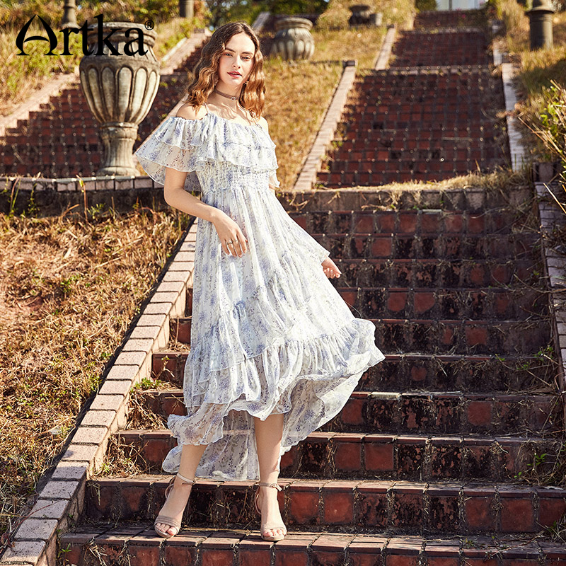 ARTKA 2018 Summer New Women Ruffles Strapless Big Swing Elastic High Waist Floral Print Irregular Long