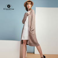 Eileen Elisa Autumn Women Fashion Long Cardigan Coat Long Sale Pockets Cardigans Open Stitch Plus Size