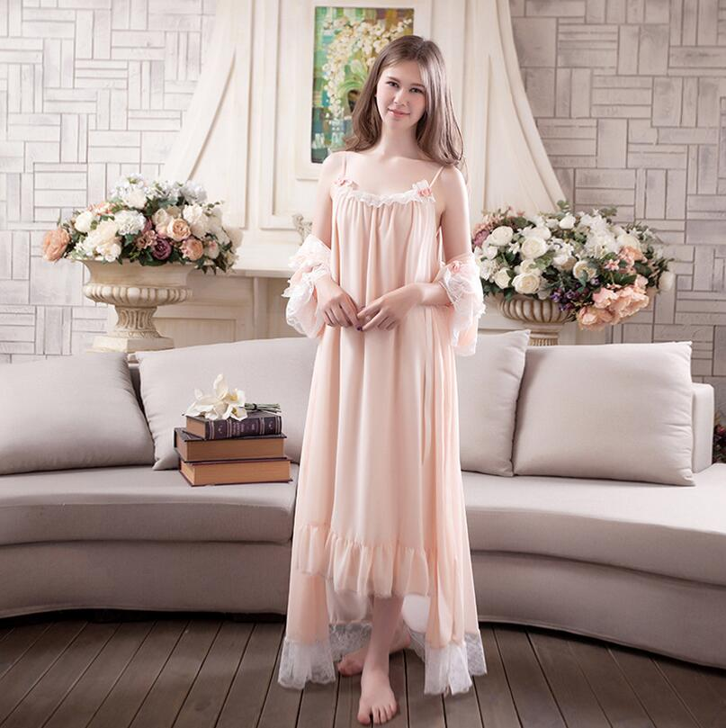 Sweet Princess Lace Robe Set Spring summer Nightgown Two piece Robe Set For Women nightdress Sleepwear