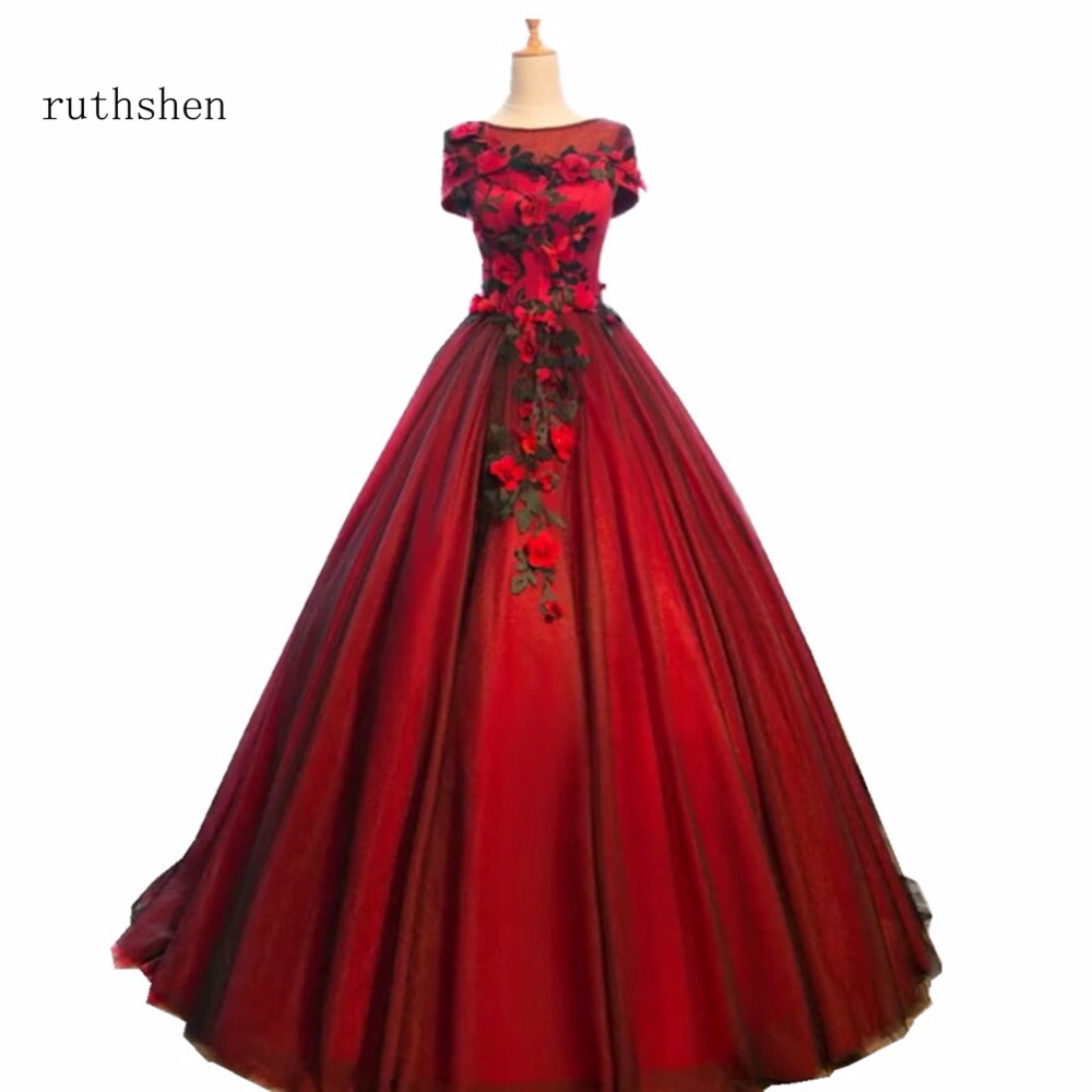 ruthshen Luxury Scoop Neck Prom Dresses 2018 Long Floor Length Party Evening Gowns With Flowers Rose Pattern Vestido De Festa