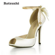 Batzuzhi Handmade Women Shoes Open Toe White Wedding Shoes Ladies Ankle Metal Strap with Bow 12cm High Heels Zapatos Mujer, 43 handmade christmas green emerald suede sheet leather heel greenery wedding shoes with knot open toe ankle strap d orsay pumps