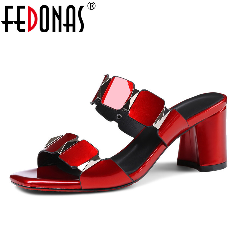 FEDONAS Women Gladiator High Heels Band Summer Shoes Woman Sexy Wedding Party Shoes Female Elegant Slippers Black White Sandals fashion buttons rivet studs high heels designer gladiator sandals red black women pumps party dress sexy wedding shoes woman