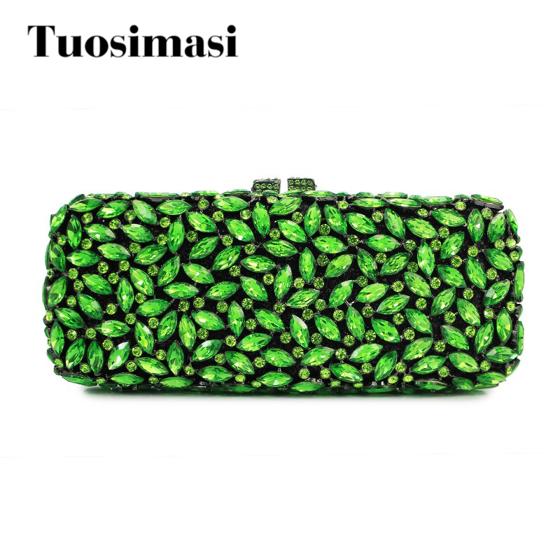 Green luxury diamond crystal clutch evening bag purse wallet women handbags purses(8766A-G2) 2017 designer handbags high quality women clutch hot luxury crystal full diamond wallet casual evening bags b100b dbb
