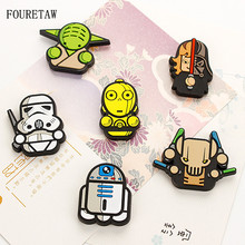6 Pieces/set Cartoon Star Wars Kawaii Darth Vader Master Yoda C-3PO Fridge Magnets Education Kids Toys Souvenir Wall Sticker