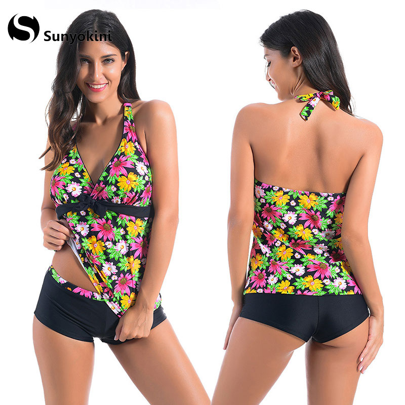 eb22d6a49d Sunyokini Sexy Swimsuit Women Sport Swimwear Two Pieces Bathing Suit Deep V  Neck Backless Swimming Suits Female Printed Bodysuit