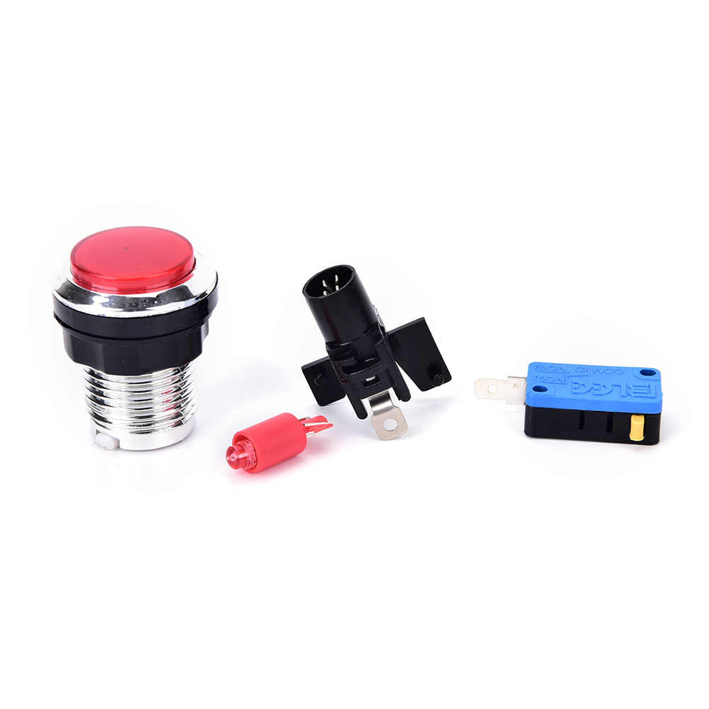 5 Colors arcade push button Chrome Plated illuminated 12v LED Arcade Push Button with microswitch