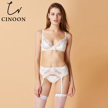CINOON New sexy Bra+Panties+Garter embroidery Lace Glossy women's Underwear Set black White Bra & brief Sets belt Set lingerie