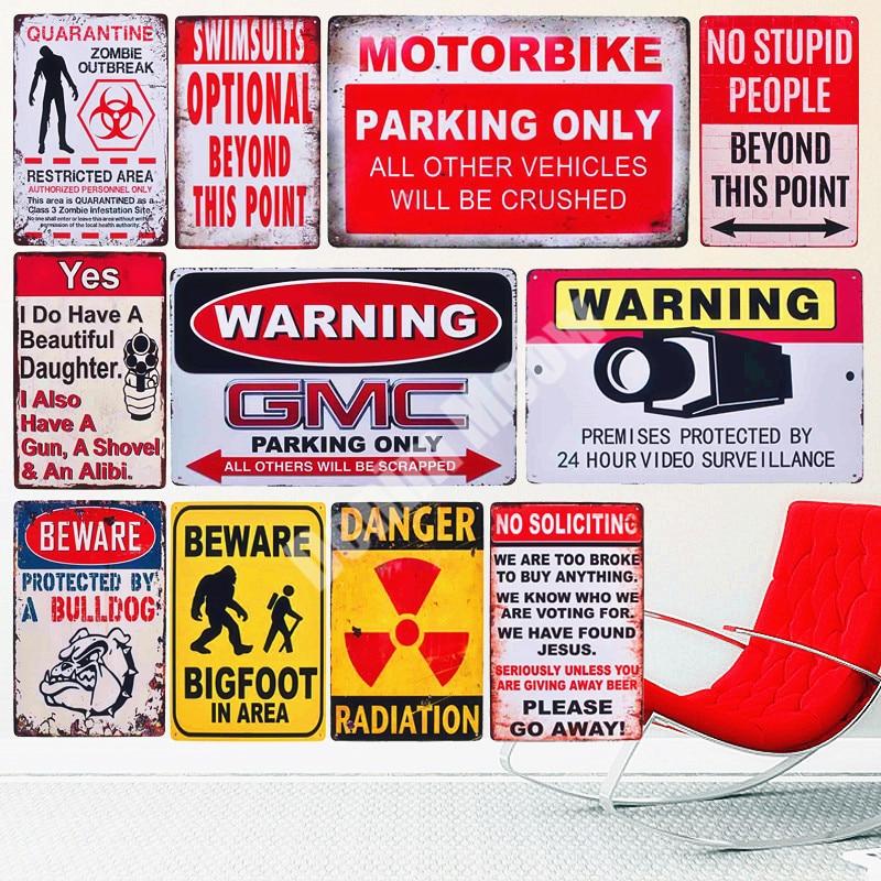Beware Protected By A Bulldog Metal Tin Signs Poster Pub Bar Art Wall Hanging