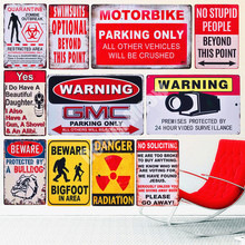 Warning Slogan Vintage Metal Tin Sign Bar Pub Cafe Out Door Plate Parking Only Posters Beware Wall Sticker Retro Home Decor N272