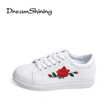 DreamShining Woman PU Leather Preppy Style Embroider Lace Up Casual Pointed Flat Non Slip Office Lady OL Soft Fashion Shoes