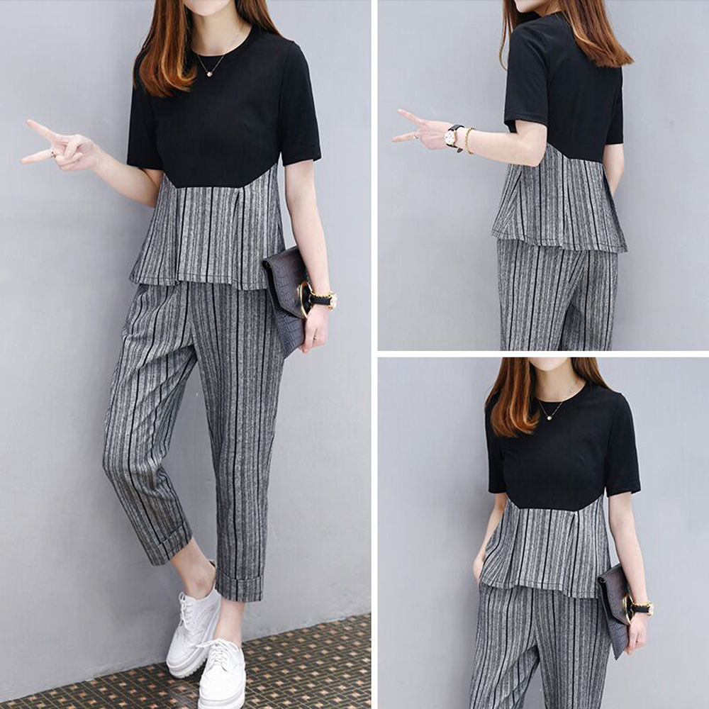 YICIYA Plus Size Tracksuit For Women 2 Piece Set Outfits Striped Top And Pants Suits Co Ord 2020 Summer Clothes Black Sportswear