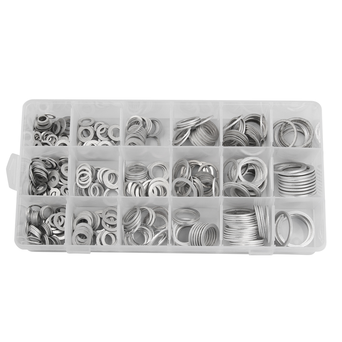 Image 2 - 450Pcs Gaskets Washers Gasket Aluminum Flat Metal Washer Gasket Assorted Aluminum Sealing Rings set With Box-in Washers from Home Improvement