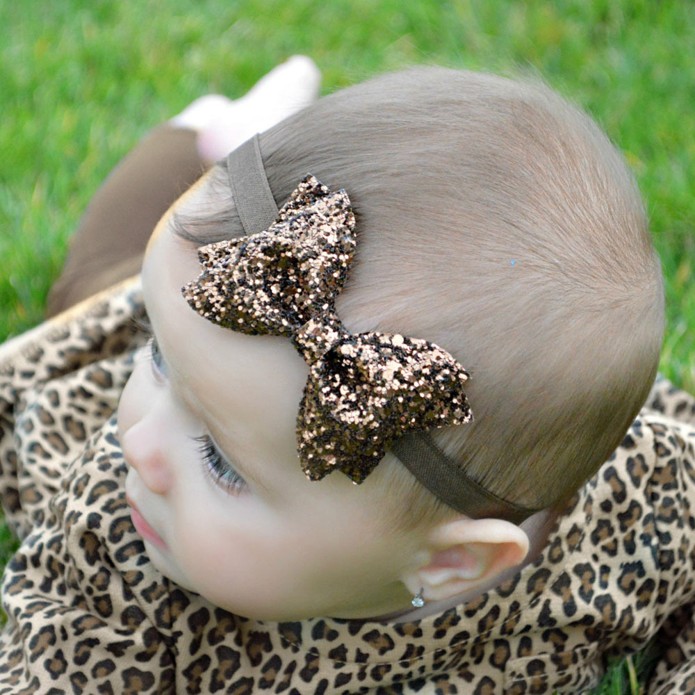 TWDVS Baru Lahir Shiny Bow Knot Hair band Anak Perempuan Elastis Bow - Aksesori pakaian - Foto 4