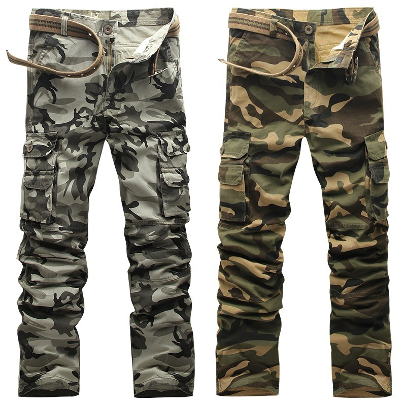 Camo Cargo men's Pants for Mens Fashion Baggy Tactical Trouser Hip Hop Camouflage Military Multi Pockets Capris Guys Male
