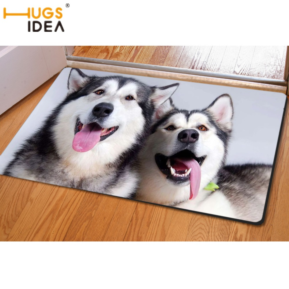 HUGSIDEA 3D Cute Husky Dog Printing Floor Carpet For Living Room Kitchen Toilet Entrance Doormat Non-slip Soft Area Rugs Tapete