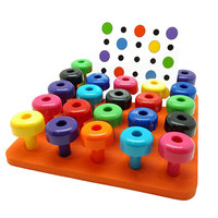 40PCS Peg Board Set Montessori Fine Motor Toy For Toddlers Counting Pegboard