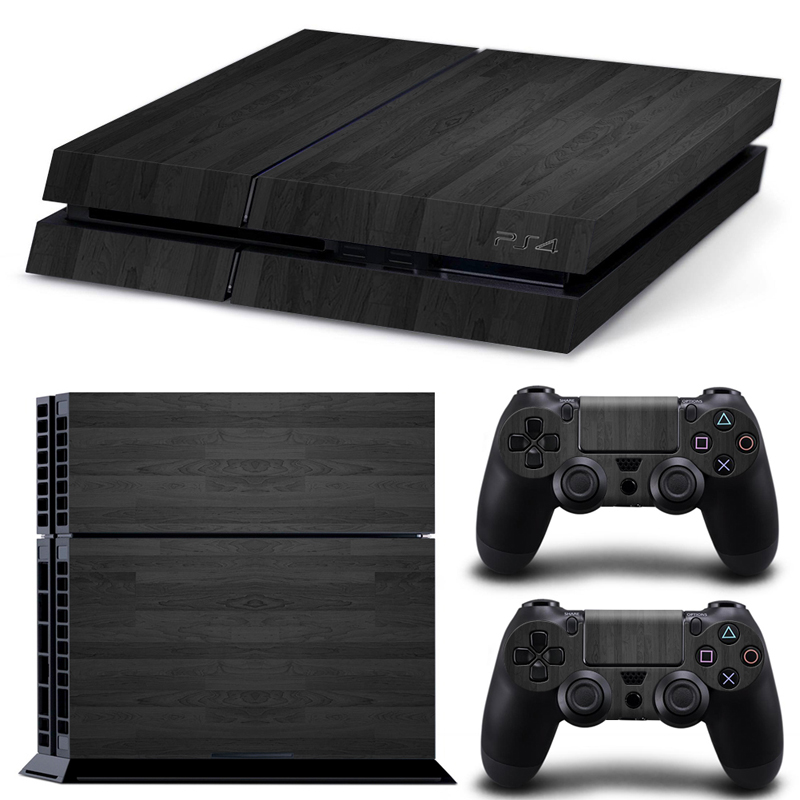 Black wood grain decal ps skin sticker for playstation