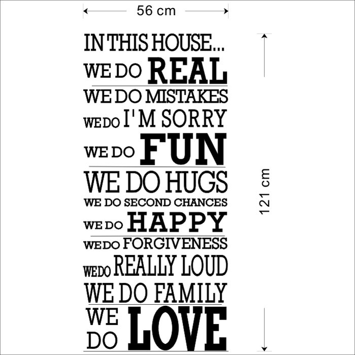 Aliexpress Buy 2017 Art Quote Wall Decor Quotes Living Room Decal Stickers In This House We Do Real Mistakes Fun Hugs Happy Family Love Decals From