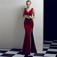 Wine Red Crystal Beading V Neck Sleeveless Long Sexy Cocktail Club Dress Formal Celebrity Party Dresses Special Occasion Wear