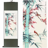 Chinese Silk watercolor flower birds Bamboo red plum blossom ink art canvas wall picture feng shui damask framed scroll painting