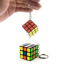 New Magic Cube 3*3*3 PVC Sticker  Mini Portable Pocket Key-Chain  Educational Cube Puzzle Toys For Children Adult Key Decoration