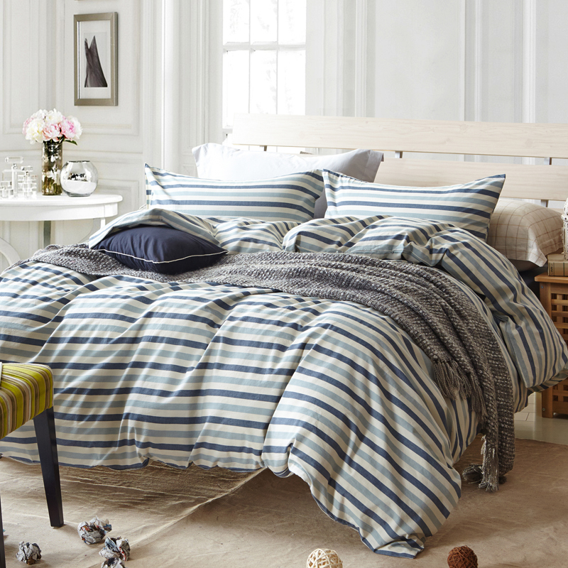 Blue stripe duvet cover set for single or double bed 100% Cotton bedcover  Plaid bedding set (duvet cover+sheet+pillowcase)-in Bedding Sets from Home  ...