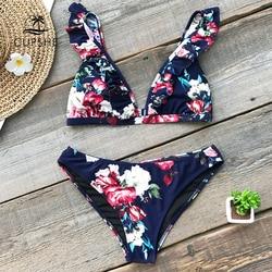 CUPSHE Ruffled Floral Print Bikini Sets Women Sexy Thong Two Pieces Swimsuits 2019 Girl Cute Bathing Suits Swimwear
