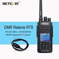DMR Digital (GPS) Walkie Talkie Retevis RT8 IP67 Waterproof Dual Band VHF/UHF 1000CH Two Way Radio Portable Radio Set A9115A