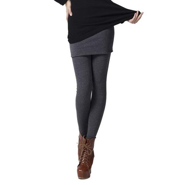 Outono Inverno Feminino Grossas de inverno calças Quentes leggings de Fitness Mulheres Leggings Saia falso 2 Peça Pants Stretch Lady Legging calças